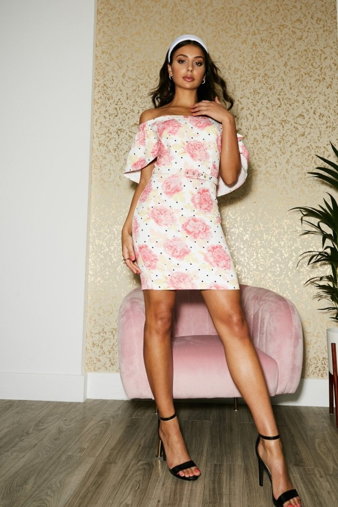 Paper Dolls Lambeth Floral-Print Belted Cape Bardot Dress