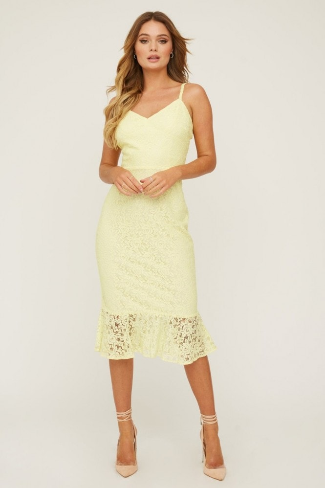 Paper Dolls Hatton Sunshine Lace Frill Midi Dress