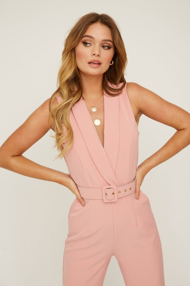 Paper Dolls Summit Rose Blush Tuxedo Belted Jumpsuit