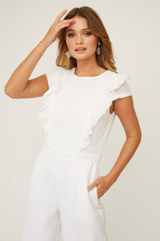 Paper Dolls Finchley White Lace Frill Jumpsuit