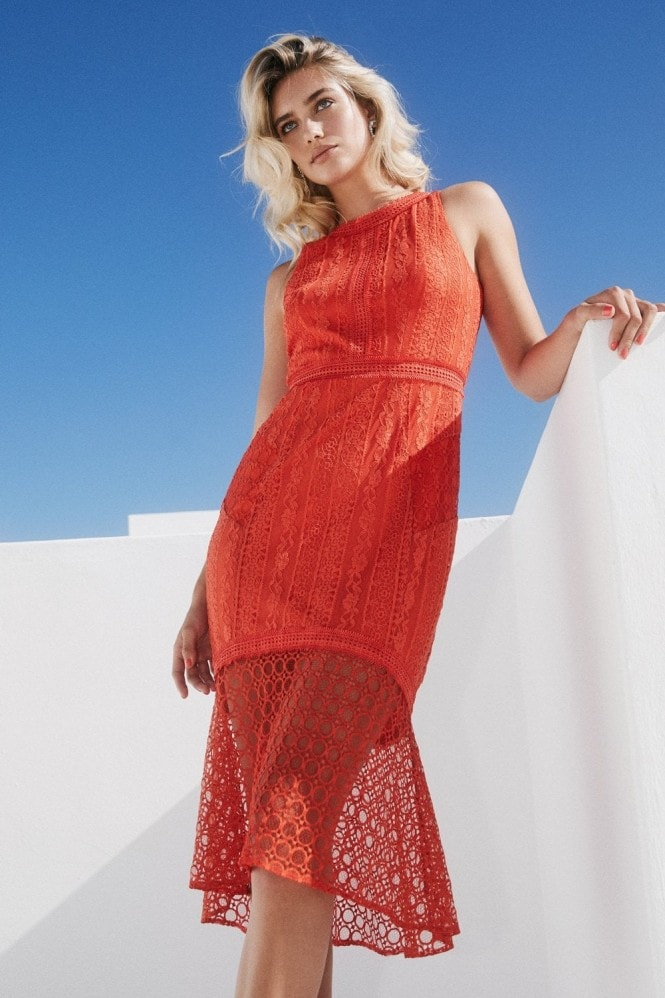Paper Dolls Kenton Orange Pephem Midi Dress 7