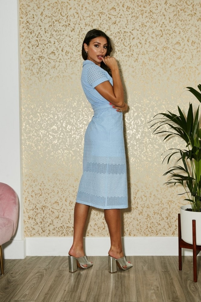 Paper Dolls Dorset Alaska Blue Lace Midi Wrap Dress