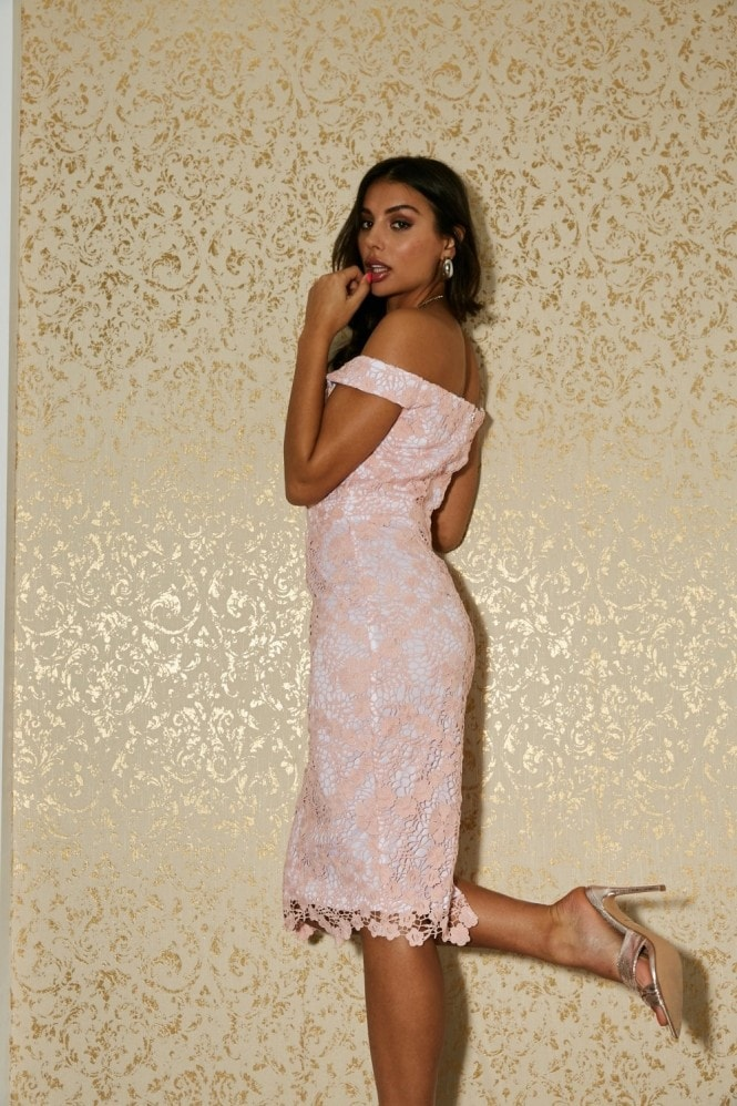 Paper Dolls Somerset Pale Pink Crochet Off-The-Shoulder Pencil Dress