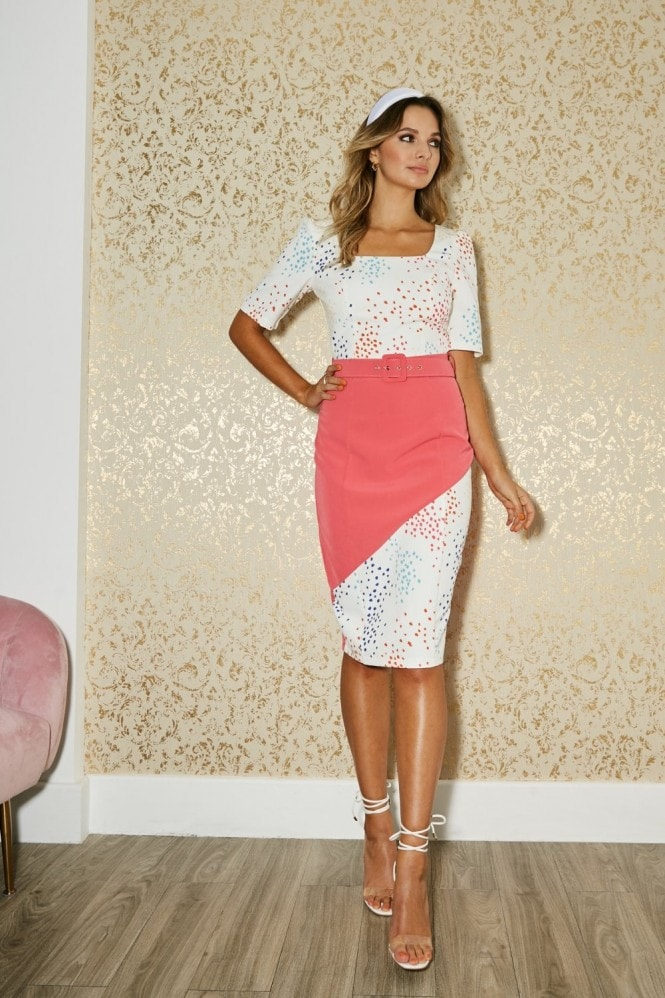 Paper Dolls Poplar White Spot-Print Colour Block Belted Dress