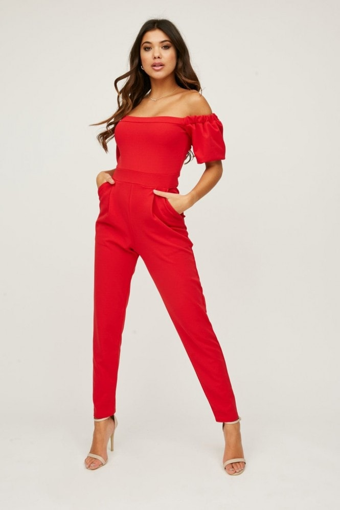 Little Mistress Tobin Red Bardot Jumpsuit