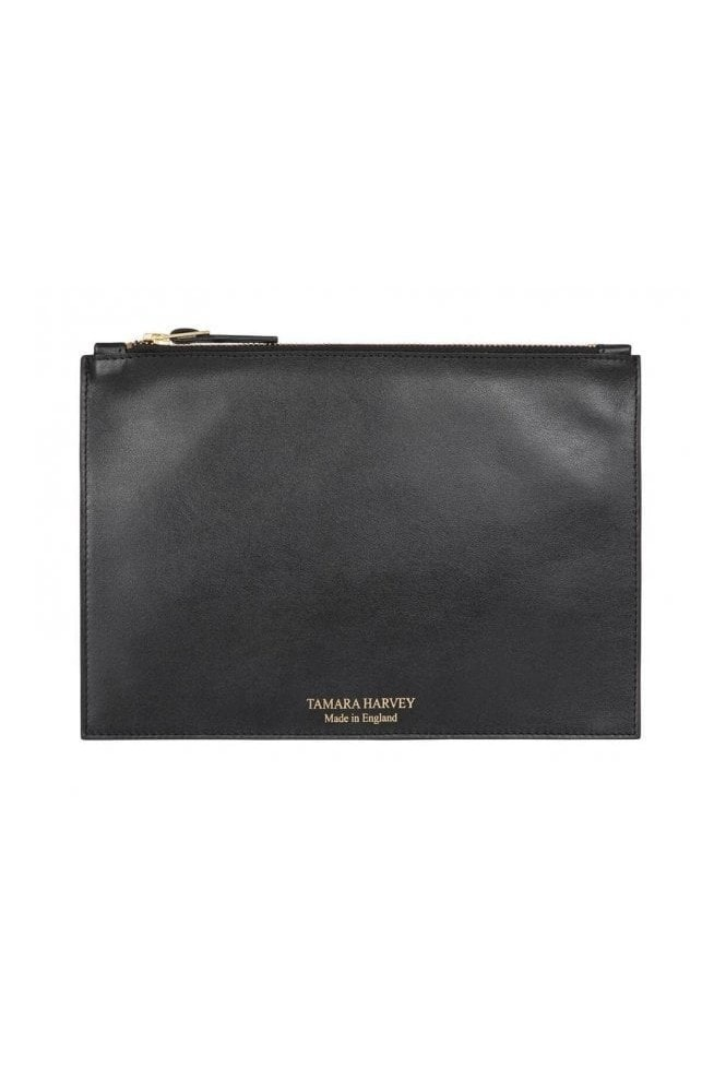 Tamara Harvey Black Leather Zip Pouch