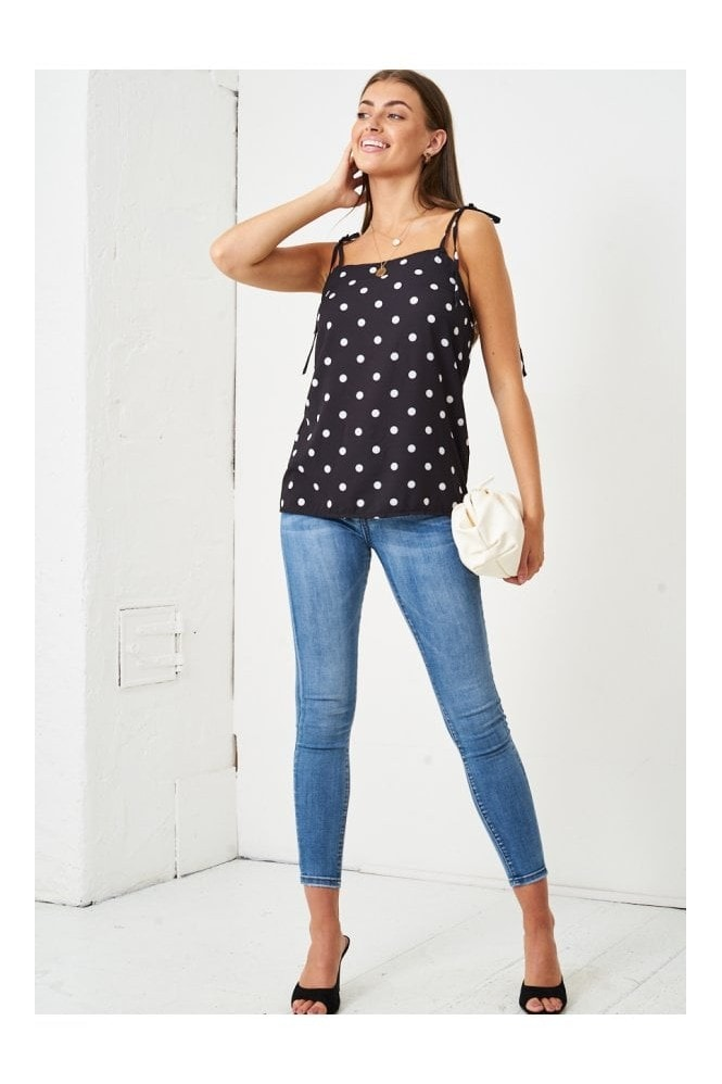 Love Frontrow Polka Dot Self Tie Shoulder Cami Top | Black