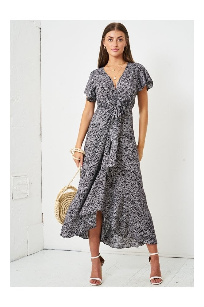 Love Frontrow Ditsy Floral Short Sleeve Maxi Wrap Dress | Black