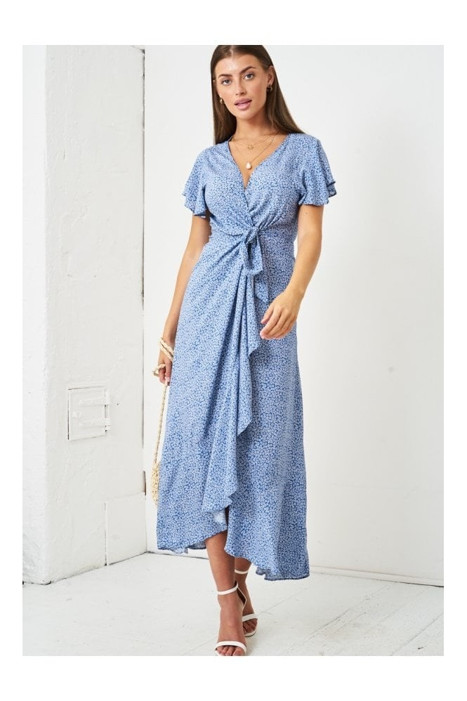 Love Frontrow Ditsy Floral Short Sleeve Maxi Wrap Dress | Blue