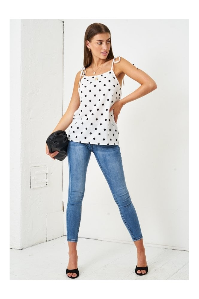 Love Frontrow Polka Dot Self Tie Shoulder Cami Top | White