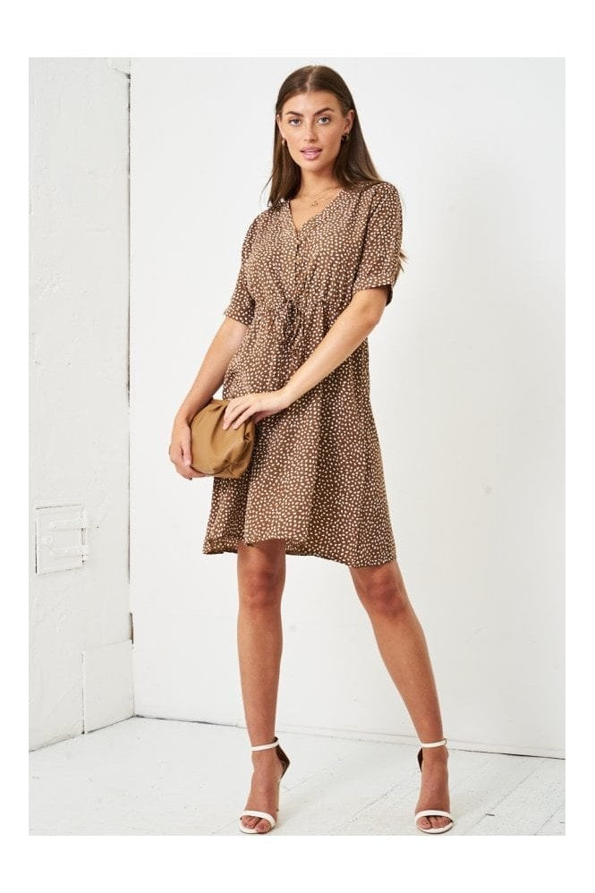Love Frontrow Short Sleeve Mini Smock Dress | Brown