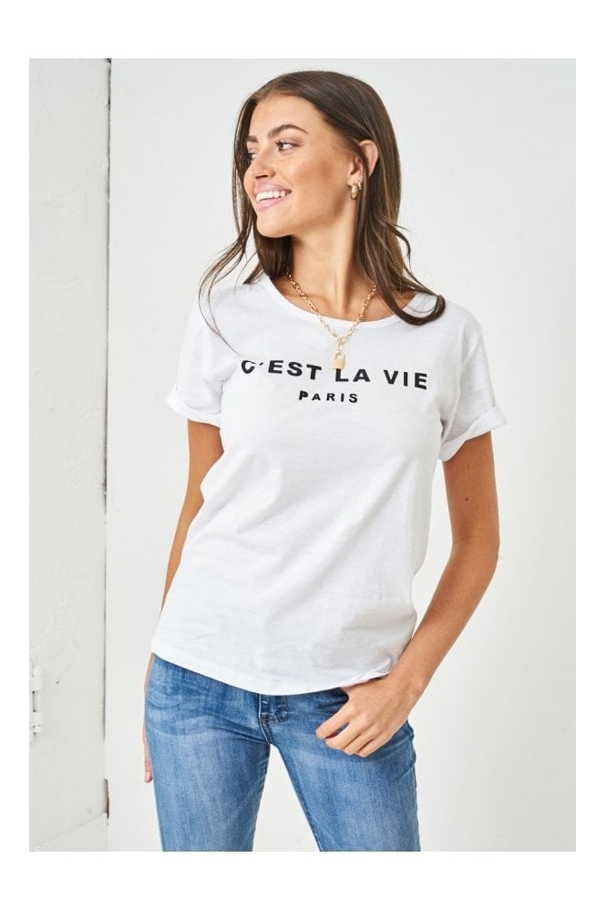 Love Frontrow C'est La Vie Paris Slogan T-shirt | White