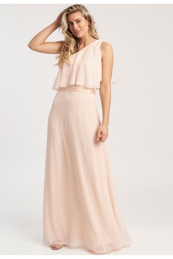 Revie London Anastasia One Shoulder Maxi Dress In Nude