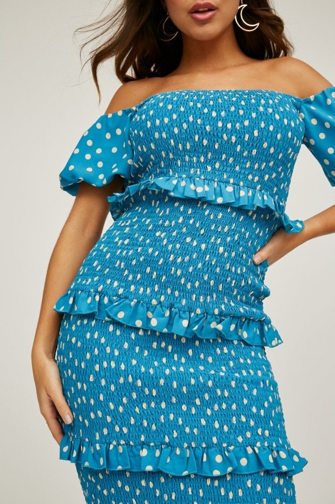 Little Mistress Major Blue Polka-Dot Bardot Midi Dress