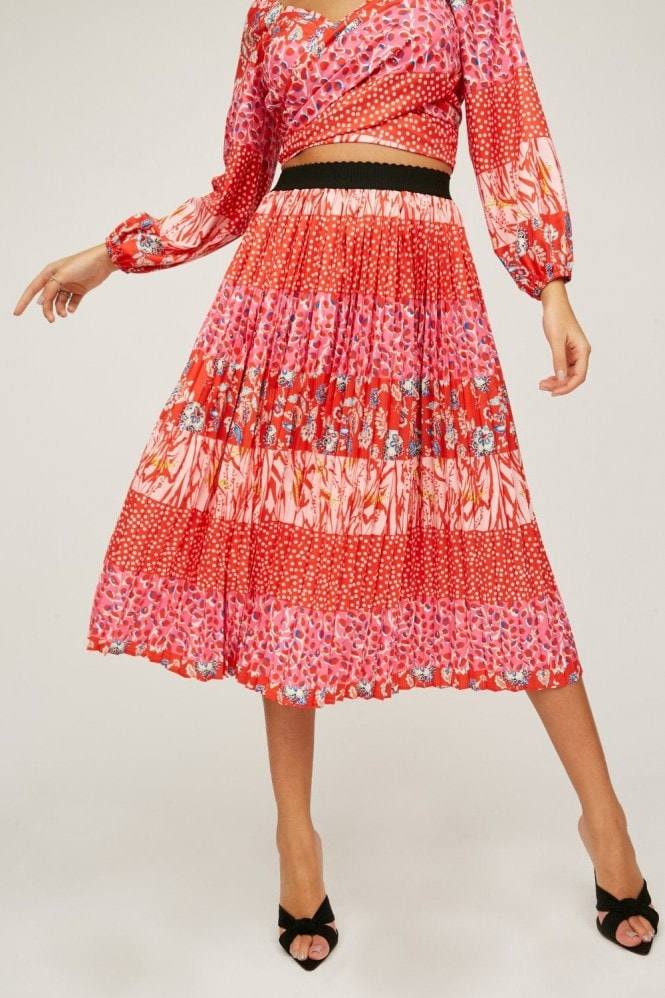 Little Mistress Xavier Red Mixed-Print Pleated Midi Skirt Co-ord