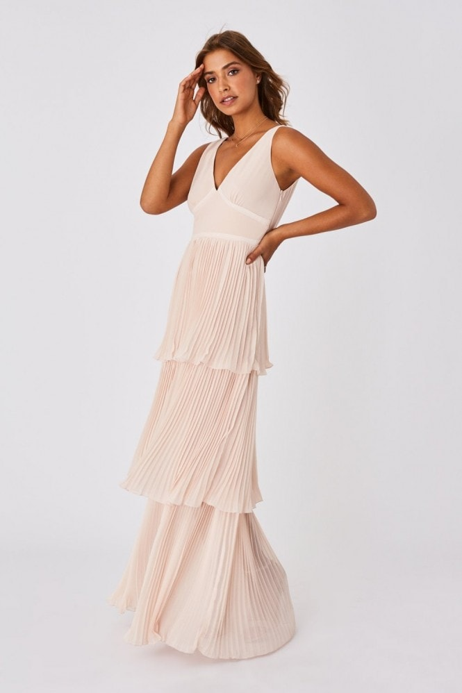 Little Mistress Mariska Bridesmaid Nude Tiered Hem Maxi Dress 3