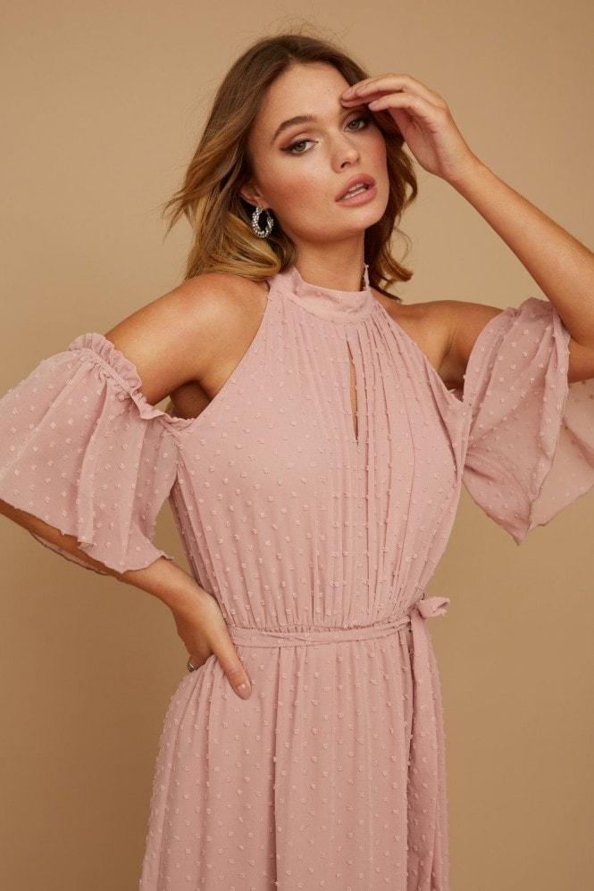 Little Mistress Emery Dusty Rose Dobby Spot Halterneck Maxi Dress