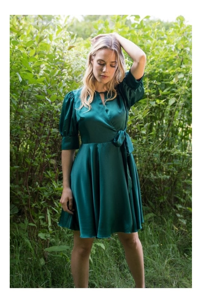 LIENA Satin Wrap Mini Dress with Keyhole in Green