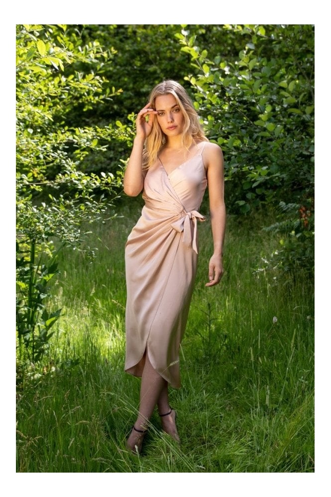 LIENA Tie Side Cami Wrap Dress in Nude