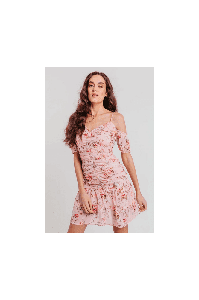 Pretty Darling Pink Floral Strappy Off Shoulder Ruched Fitted Dress