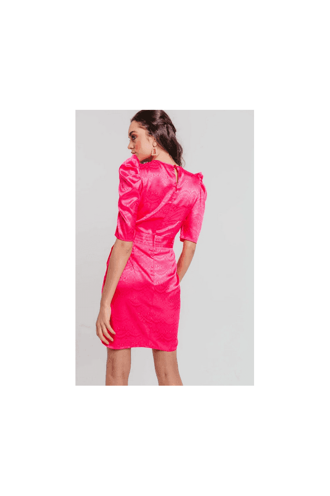 Pretty Darling Fushia Jacquard Satin Puff Sleeves Wrap Mini Dress