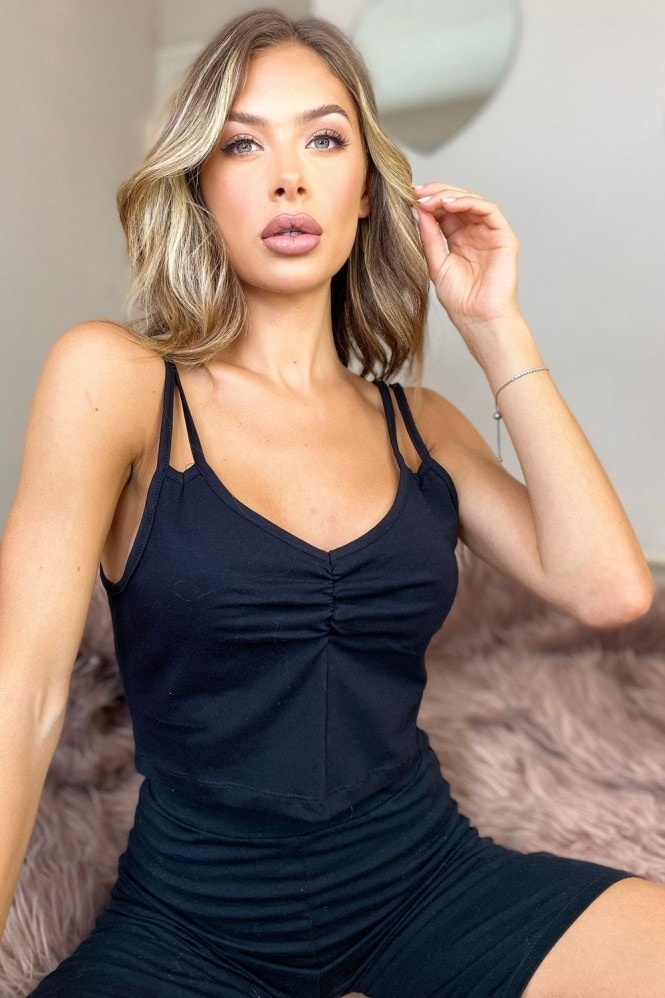 Outrageous Fortune Loungewear Strappy Crop Top In Black