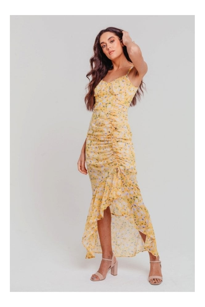 Pretty Darling Yellow Floral Chiffon Strappy Gathered Fitted Max Dress