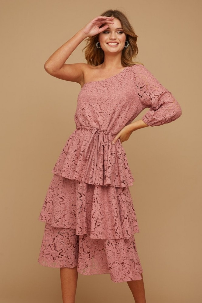 Little Mistress Folli Dusty Rose Lace Tiered Midi Dress 9