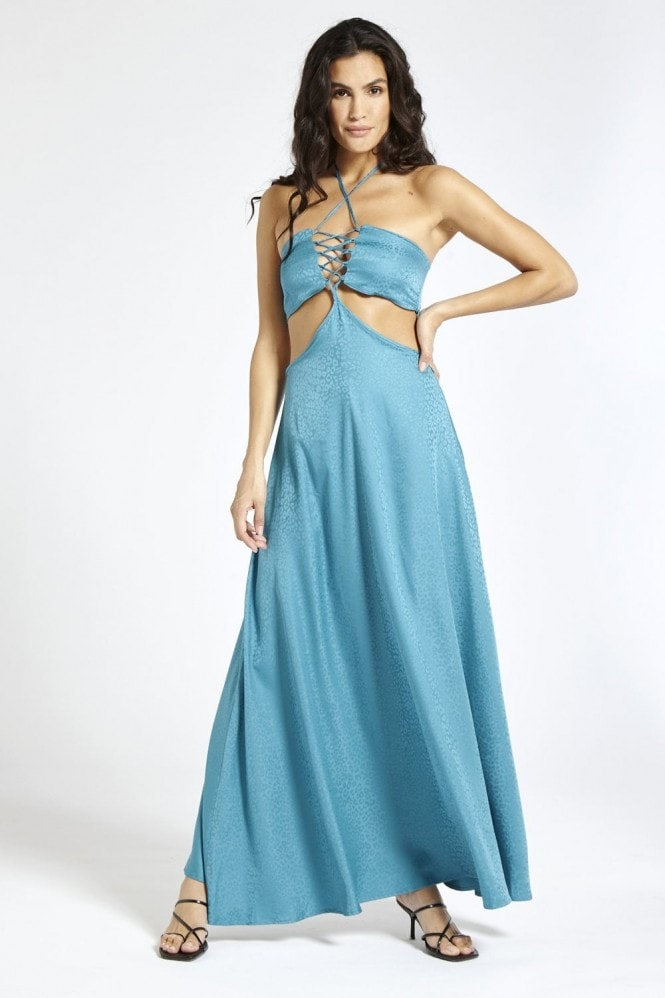 SixtyNinety Satin Maxi Dress in Blue