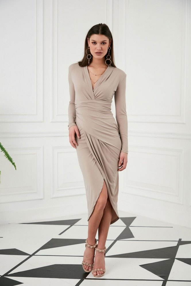 Jenerique Wrap Midi Dress with Front Slit ın Nude colour