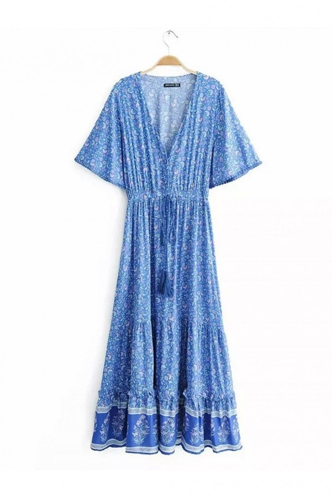 FS Collection Bohemian Style Maxi Dress In Blue Print