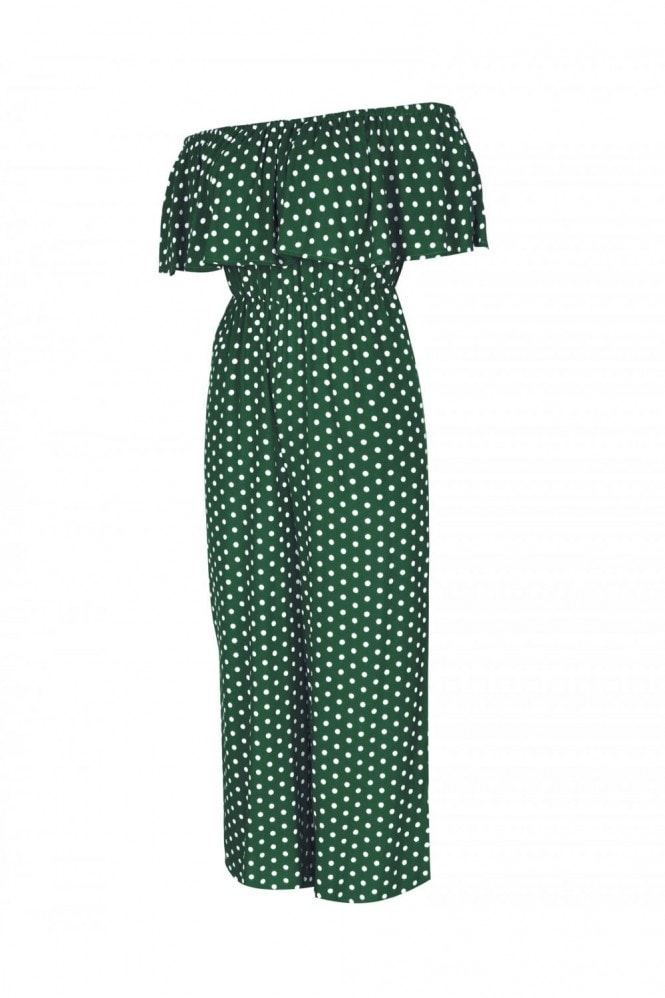 FS Collection Off The Shoulder Frill Jumpsuit In Green Polka Dot