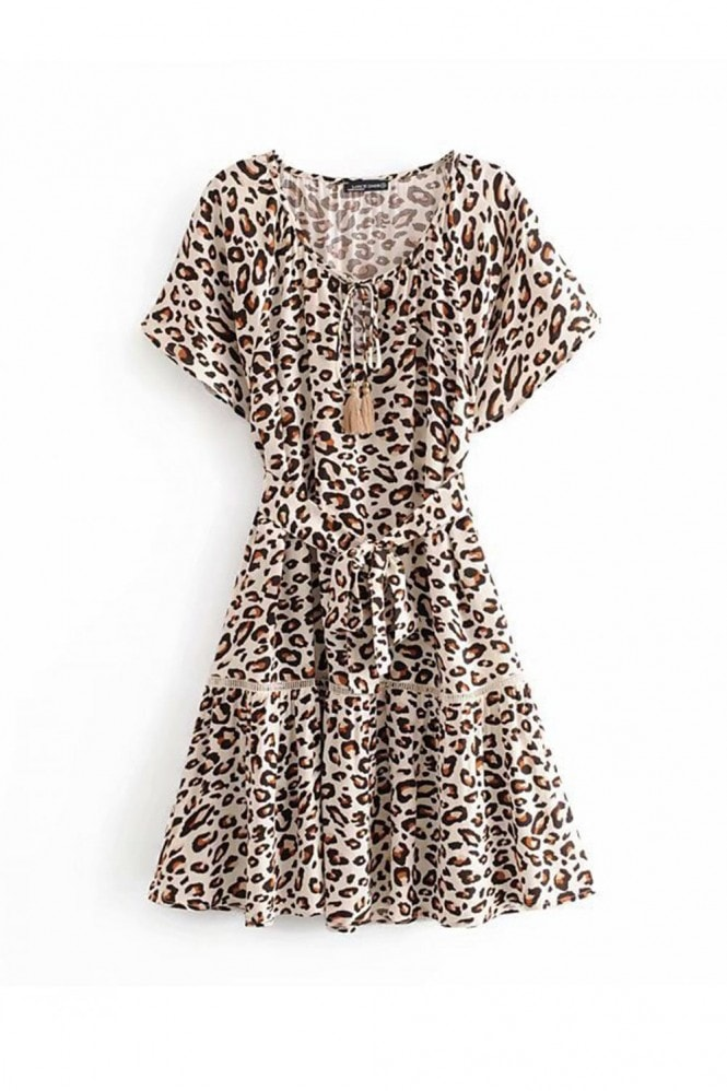 FS Collection Boho Leopard Print Smock Dress