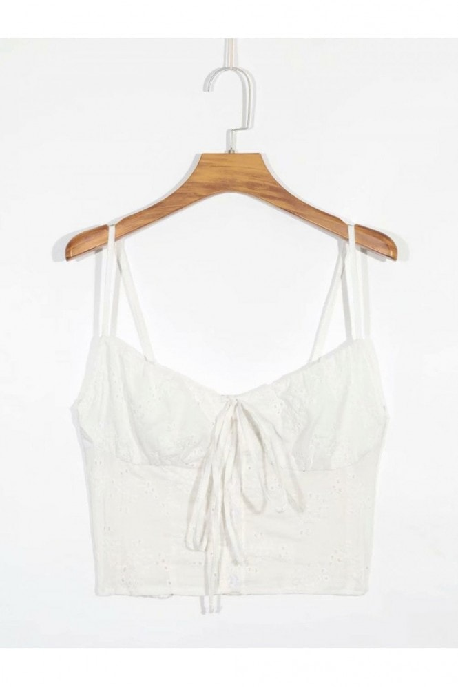 FS Collection Summer Broderie Anglaise Cotton Crop Top in White