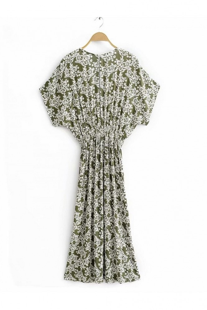 FS Collection V Neck & Back Detail Bohemian Style Maxi Dress In Olive Green Floral Print