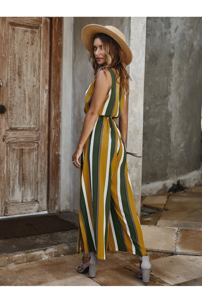 FS Collection V Neck Sleeveless Jumpsuit In Stripe Yellow & Green & White