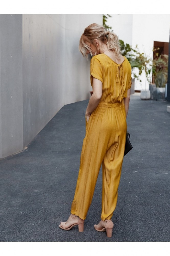 FS Collection Back Detail Short Sleeve Jumpsuit In Yellow