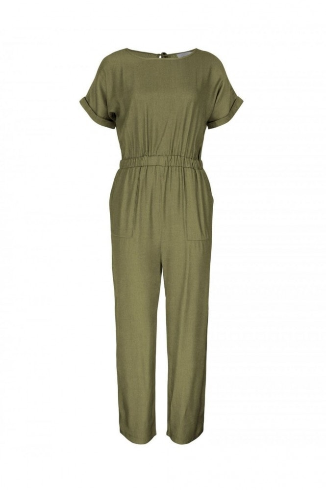 FS Collection Back Detail Short Sleeve Jumpsuit In Olive Green