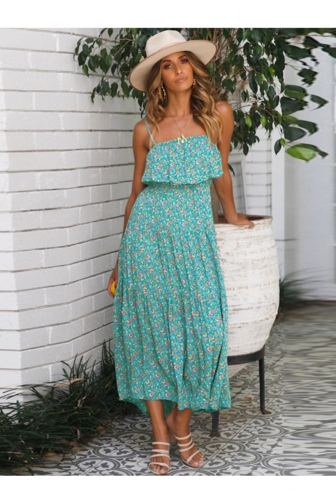 FS Collection Strappy Frill Midi Dress In Mint Green Print