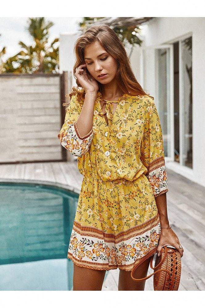 FS Collection Boho Playsuit With Buttons In Yellow & Orange Floral Print