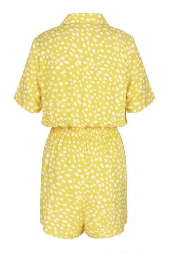 FS Collection Shirt Style Jumpsuit In Yellow & White Spot Print