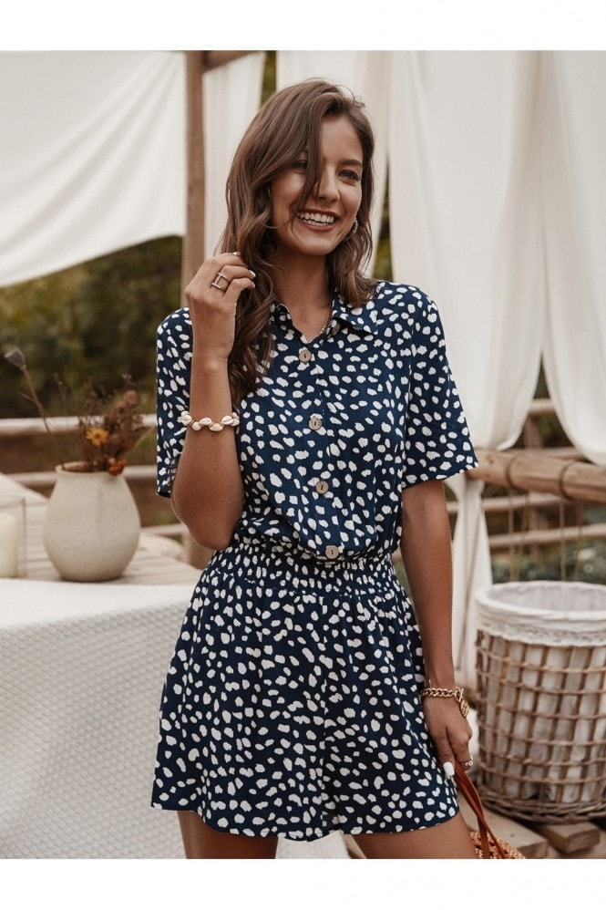 FS Collection Button Down Playsuit In Navy Spot Print