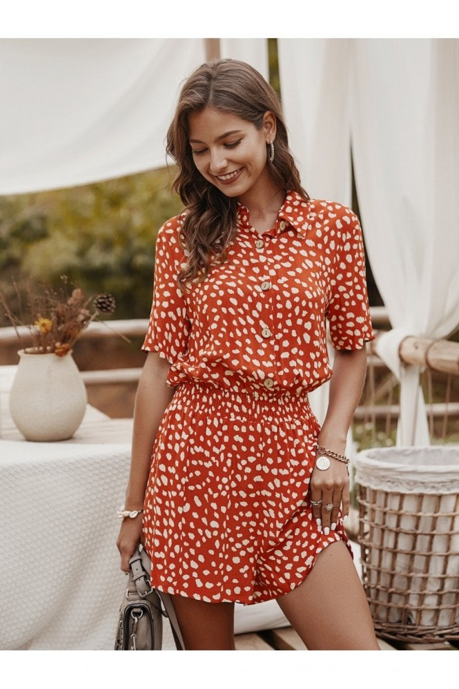 FS Collection Button Down Playsuit In Orange Spot Print