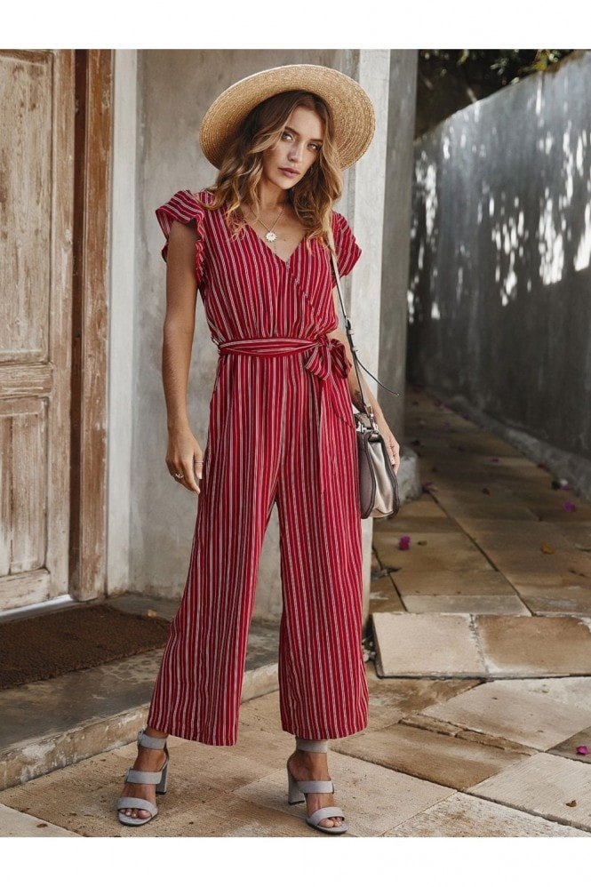 FS Collection Red Stripe Sleeveless Jumpsuit With V Neckline