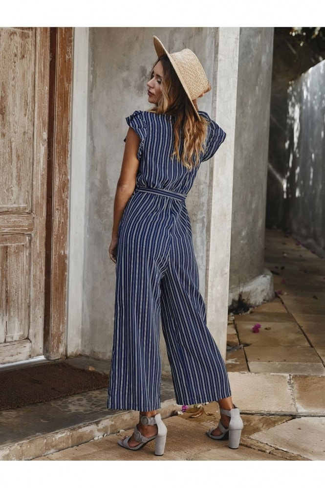 FS Collection Navy Stripe Sleeveless Jumpsuit With V Neckline