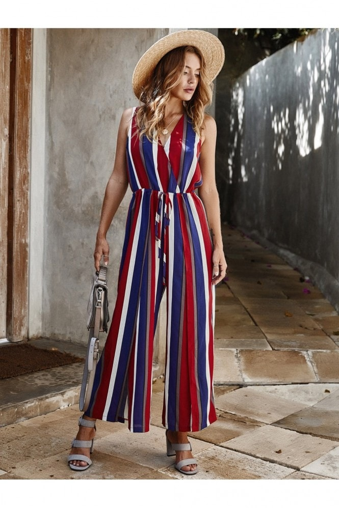 FS Collection V Neck Sleeveless Jumpsuit In Stripe Blue & Red & White