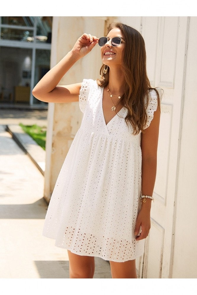 FS Collection White Embroidery Anglaise Mini Dress