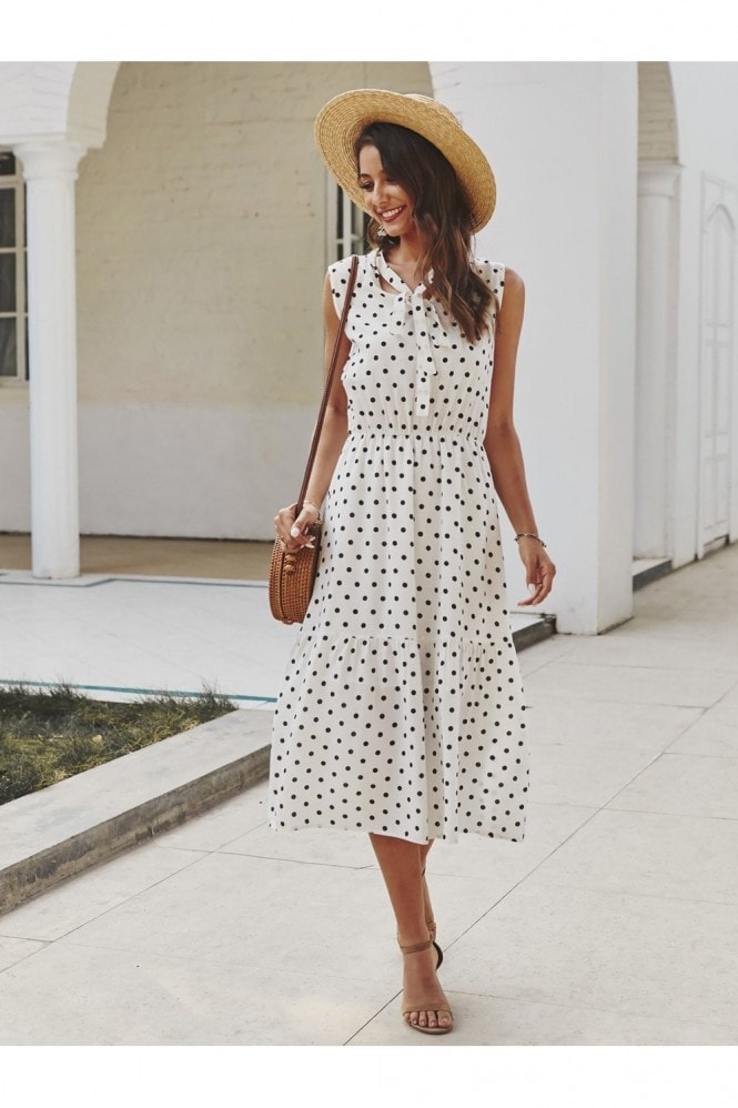 FS Collection Tiered Midi Dress In White Polka Dot