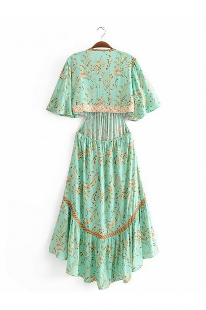 FS Collection Bohemian High Low Maxi Dress With Back Detail In Green Floral Print