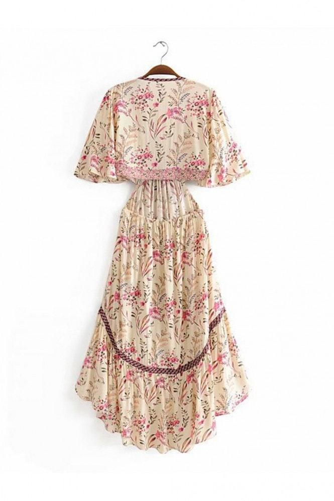 FS Collection Bohemian High Low Maxi Dress With Back Detail In Pink Floral Print